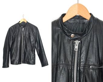 Vintage leather biker jacket. Motorcycle jacket. Black leather coat. Punk rock. Coat short motorcycle. Moto jacket. Womens Mens Unisex