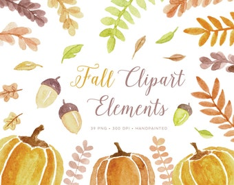 Fall Watercolor Clipart images. Pumpkin clip art watercolour graphics autumn theme and halloween. Includes elements for wreaths / frames