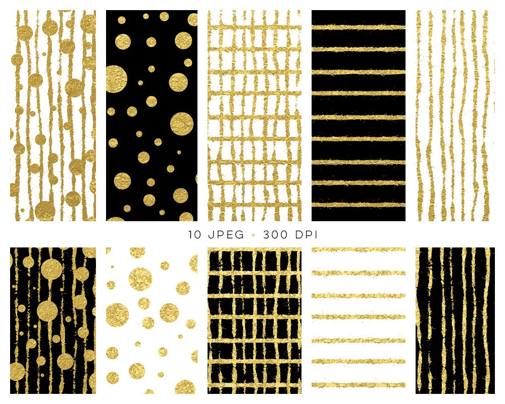 digital papers black white and gold foil digital scrapbooking paper backgrounds great for new year or party 10 hi res backgrounds