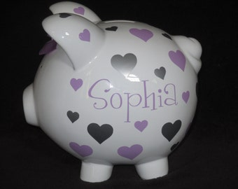 Personalized Piggy Bank - Hearts