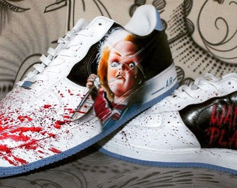 Custom Nike Air Force One CHUCKY handpainted Sneaker Horror Shoes