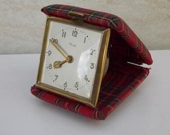 Travel clock, germany clock, mechanical clock, alarm clock, Europa clock, gift idea, decor, table clock, retro clock, small clock, red