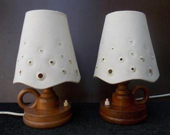 Pair Table Lamps Desk Lamps 1970s / table lamp / pair table lamp / White, Brown lamp / Night lamp / Vintage Pressed / Wood lamp