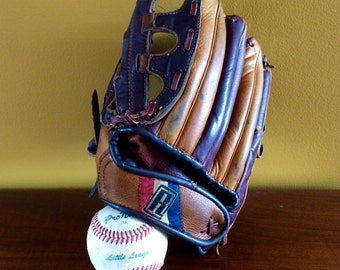 Baseball Glove - Lefty Baseball Glove - Little League Baseball Glove and Ball - Regent Baseball Glove - Used Baseball Glove
