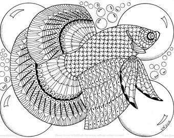 Beta Fish Coloring Page
