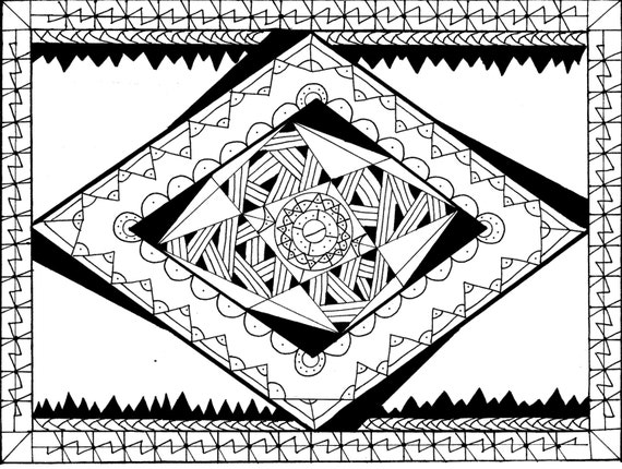Items Similar To Shaded Diamond Zentangle Coloring Page