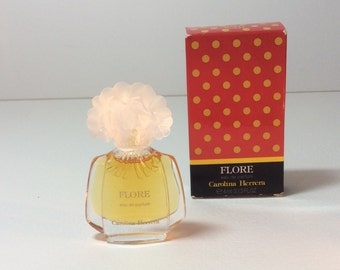 "Perfume mini ""Flore"" by Carolina Herrera , vintage bottle"