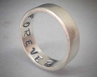 Secret Message Ring - Sterling Silver Ring - Forever - secret Message