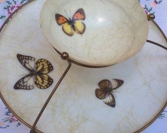 Sale!Mid Century Butterfly Molded Fiberglass Two Tier Serving Tray Chip Dip Dish