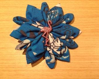 Blue flamingo tiki hair flower clip