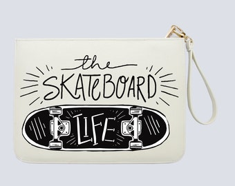 The skateboard life - Quotes - Calligraphic - Women handbag with luxury gold zipper |DHG-051-Perfcase