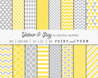 Yellow Digital Paper Pack, Grey Scrapbook Pack, Gray, Chevron, Polka dot, Stripes - Commercial Use