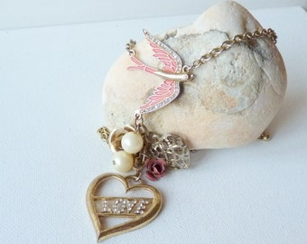Gold Heart Necklace Vintage Bird Necklace Dangle Love Necklace 80's Necklace, Gold Tone Retro Denmark Necklace, Bird Jewelry Denmark Jewelry