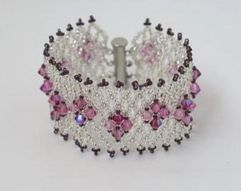 Pink crystal bracelet, Pink beaded bracelet, Swarovski bracelet, Seed bead bracelet, Swarovski crystal bracelet, Crystal bead bracelet