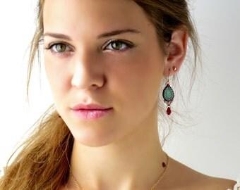Gold turquoise earrings, Turquoise teardrop earrings, Drop earrings gold, Turquoise dangle earrings, Crystal teardrop earring, Gift for wife