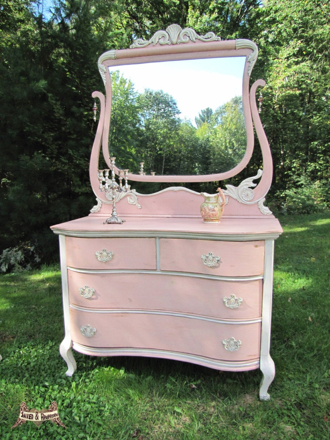 solddresser with mirror shabby chic dresser cottage. Black Bedroom Furniture Sets. Home Design Ideas