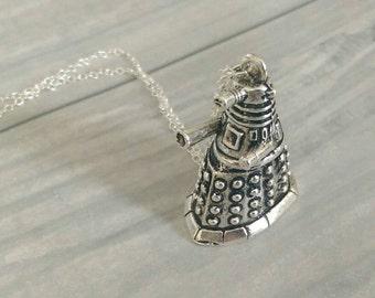 Dalek Necklace, Doctor Who Necklace, Dalek Pendant, Doctor Who Pendant, Silver Dalek Necklace