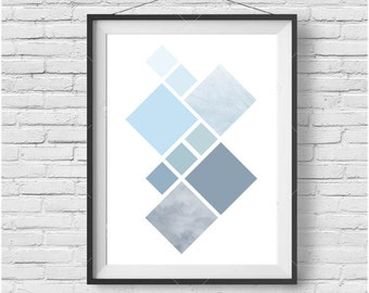 Geometric Print Blue Geometric Art Blue Poster Blue Nursery Art Minimalist Art Abstract Print Modern Art Geometric Poster Blue Home Decor