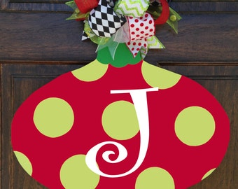 Monogrammed Red and Green Ornament Door Decor