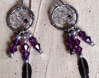 Amethyst Dreamcatcher Feather 3.4g - Dangle Earrings or Best Offer