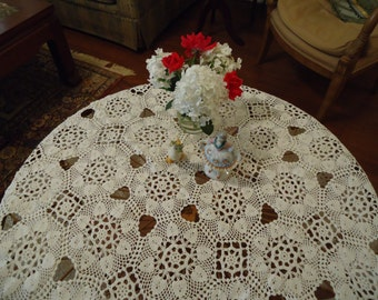 Vintage, Handmade White Crochet Lace, 62 inch,  Round Tablecloth, Weddings, Tabletopper, Special Occasions, Holiday, Never Used