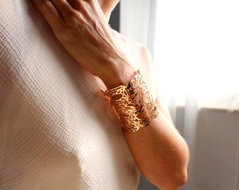 Pink gold cuff | Cuff | manchette | bracelet | gold plated | pink gold color | made in Italy | hand made