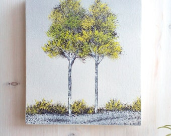 Original Oil Painting, Two Green Trees