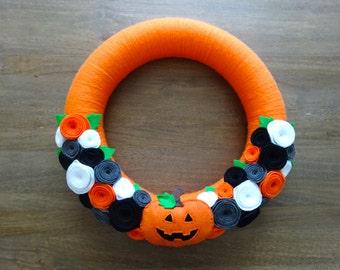 Halloween Felt Wreath, Felt Wreath, Halloween Wreath, Pumpkin Wreath