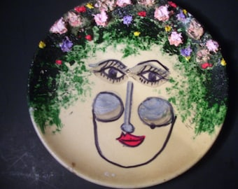 Women With Flower's In Her Hair Ceramic Dish Wall Art