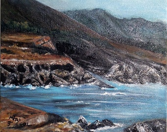 CALIFORNIA -original oil painting one of a kind, beautiful art work,wonderful gift ,cliff view, ocean view,unique art,**FREE SHIPPING**