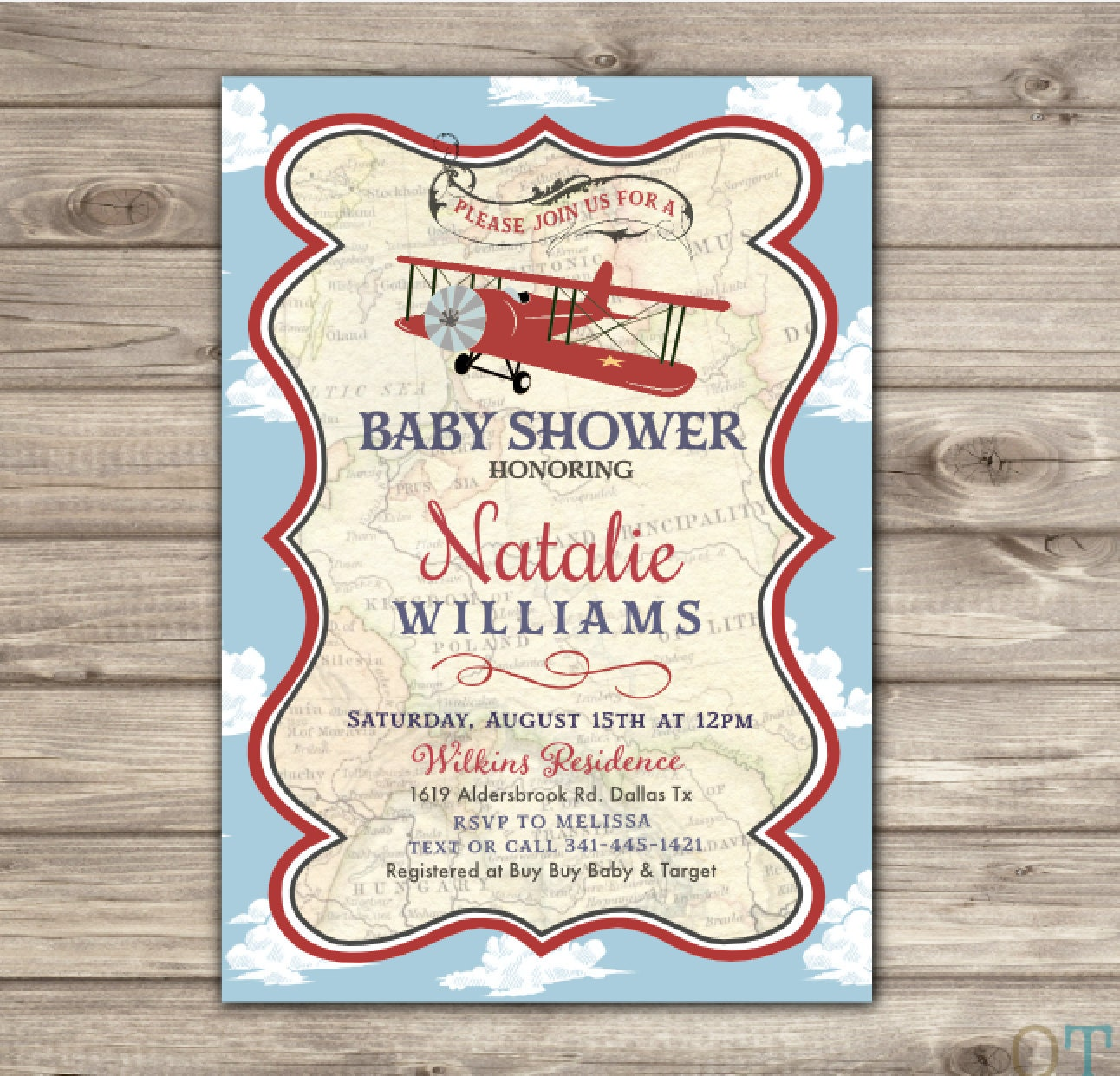 Vintage Airplane Birthday Party Airplane Baby Shower: Airplane Baby Shower Invitations Red Navy Blue Old Theme Map