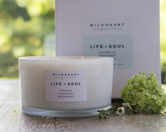Soy Candle  -  Save 15% Gingerlily, Cypress & Bergamot, Ultimate Therapy Aromatherapy Candle,