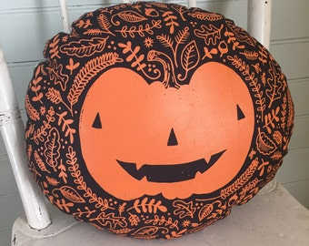 ON SALE Screenprinted Jack O'Lantern Pillow - Black