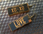 XOXO - LOVE - Fun License Plate Earrings - OOAK  Paper earrings - Great Gift! (L-12)