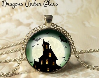 "Bats at a Haunted Church Necklace - 1-1/4"" Circle Pendant or Key Ring - Wearable Photo Art Jewelry - Bats, Full Moon, Horror, Haunted, Goth"