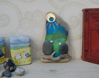 pebble & driftwood love birds..rustic wall decor..coastal art..mixed media collage..coastal assemblage..reclaimed wood gift idea