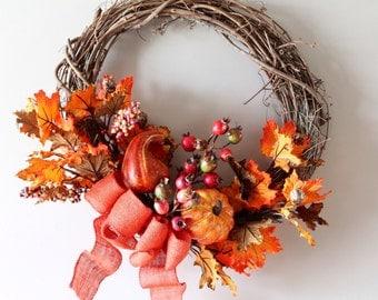 Thanksgiving Wreath, Fall Wreath, Thanksgiving Decor, Autumn Wreath, Harvest, Fall Decor, Pumpkin, Grapevine Wreath, Thanksgiving