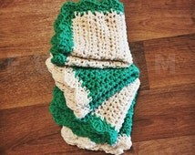 Crochet Wash Cloths - Crocheted Cotton Dish Cloths - Cotton Wash Cloth Face Cloth - Green Crochet Dish Cloths