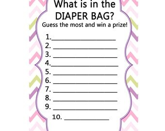 Girl Baby Shower Games, Whatu0027s In The Diaper Bag Game, Baby Shower Girl,