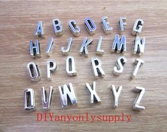 1set(one set 26 pieces)Antiqued bronze/silver 6x11mm alphabet Slide letters charms finding---fit 6mm width slide