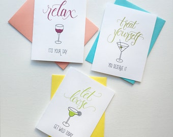 Booze Card Trio – Happy Birthday Greeting Card, Mother's Day Card, Love, Graduation, Celebration, Funny, Alcohol, Drunk, Handlettering
