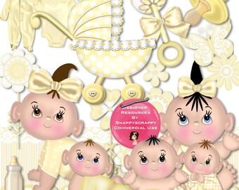 Digital Scrap Kit, Baby Scrap Kits, Digital Scrapbooking, Baby Boy, Baby Girl, Yellow Baby Scrap Kit,  Lemon Baby Scrap Kit, Commercial Use,