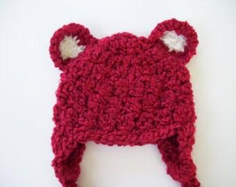 Baby Bear Hat, Ear Flap Hat, Baby Boy Hat, Baby Girl Hat, Crochet Baby Hat, Newborn Photo Prop, Christmas Hat, Baby Shower Gift, Baby Hat