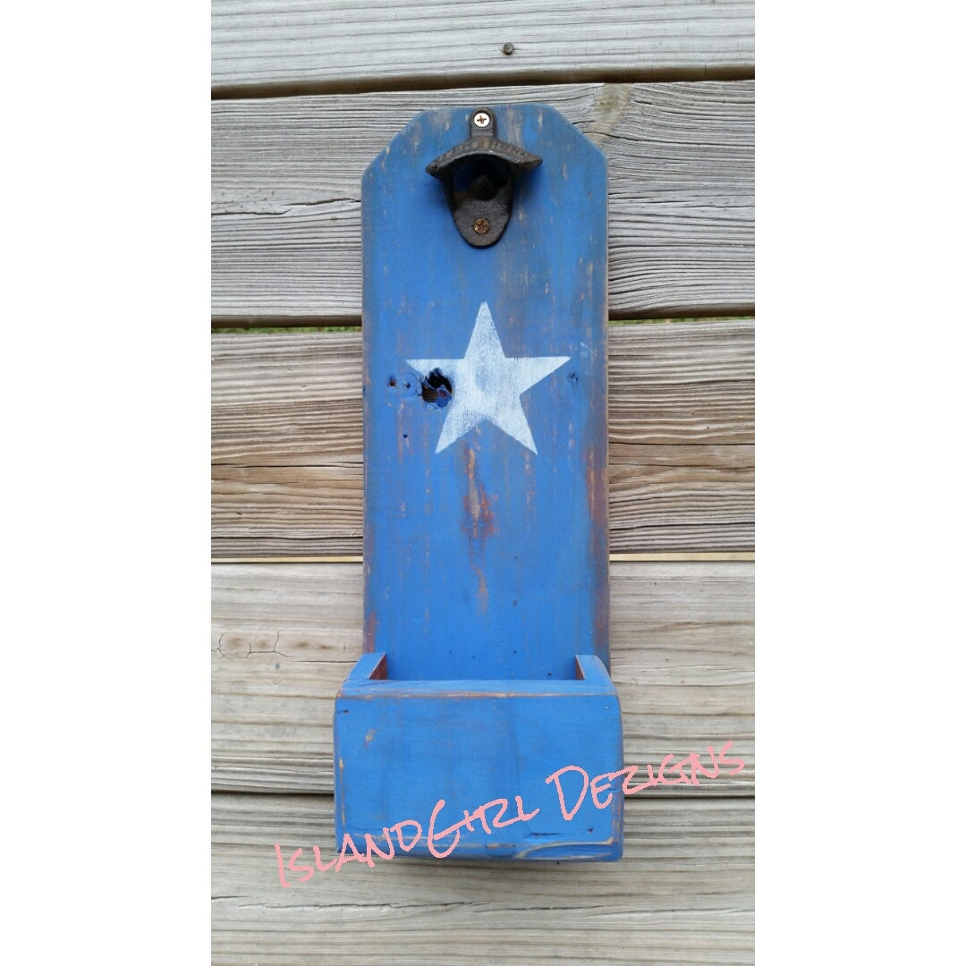 beer bottle opener cap catcher rustic blue white star. Black Bedroom Furniture Sets. Home Design Ideas