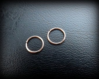 Set of 2 14K Rose Gold F Hoops Seamless Hoop Ring for Nose,Ear,Cartilage,Tragus,eyebrow/Thin Snug/endless hoop/Sale!