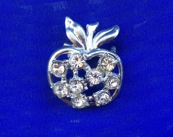 Antique Vintage Apple Rhinestone Pin Brooch Pretty for Fall or Teacher Gift