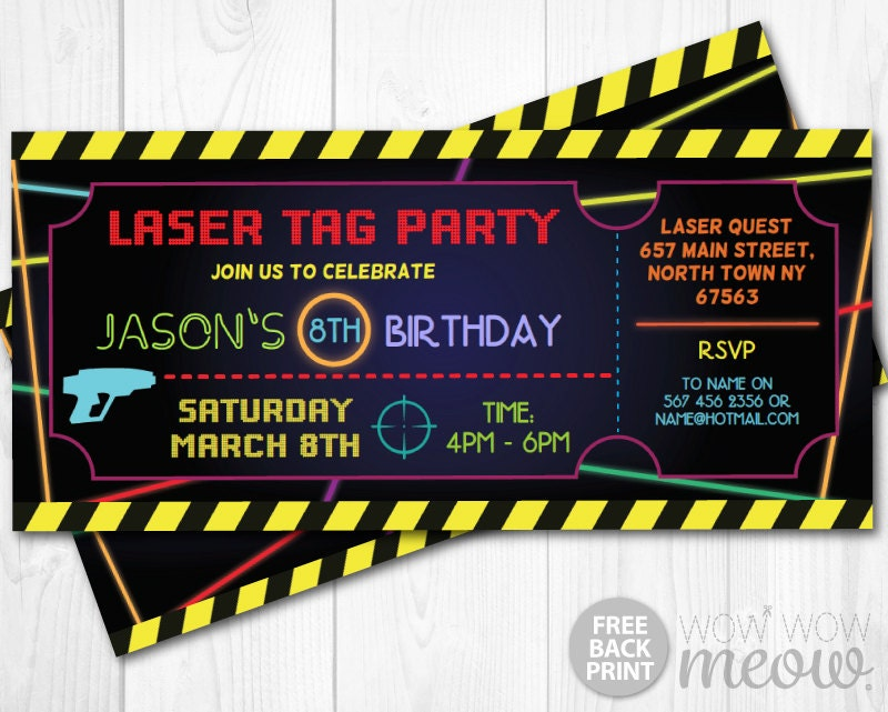 Laser Tag Invitations Ticket Birthday Party Let S Glow