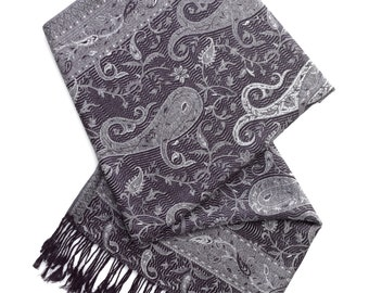 Grey and black paisley pashmina scarf