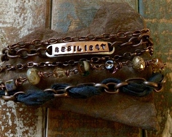 Sari Silk Bracelet with 5 Styles of Copper Chains