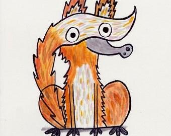 "Handpainted Fox Illustration 7x10"""